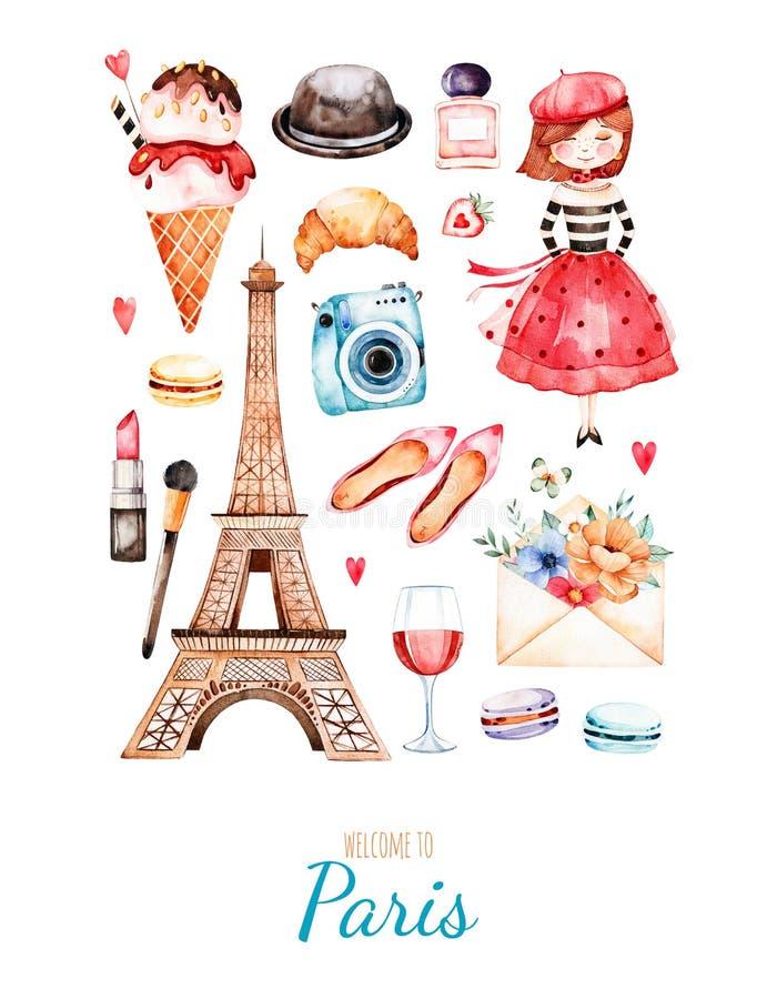 Стиль Парижа иллюстрации акварели иллюстрация штока