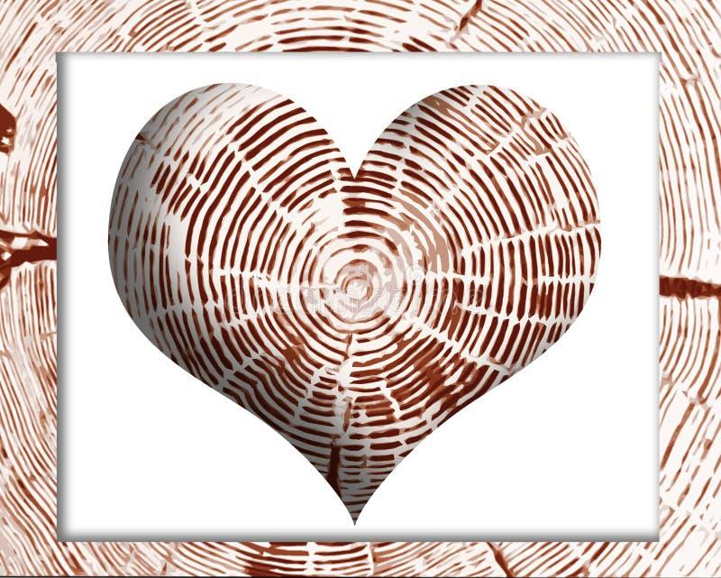 Стиль пня дерева сердца в деревянной рамке иллюстрация штока