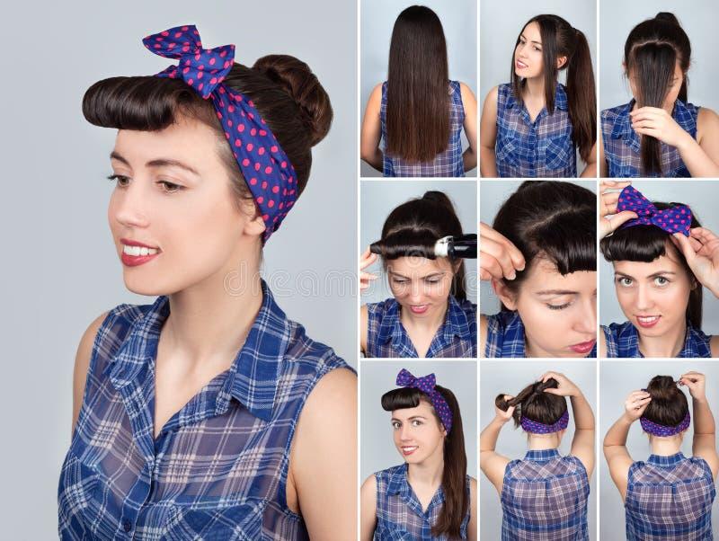 Стиль причёсок для консультации плюшки длинных волос ретро стоковое изображение rf