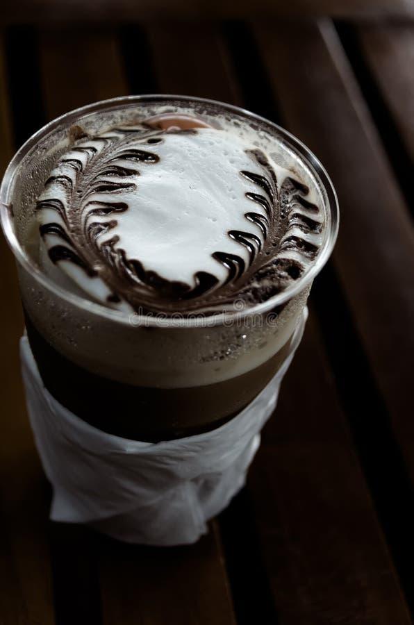 Стиль процесса кофе искусства Latte винтажный стоковое фото rf