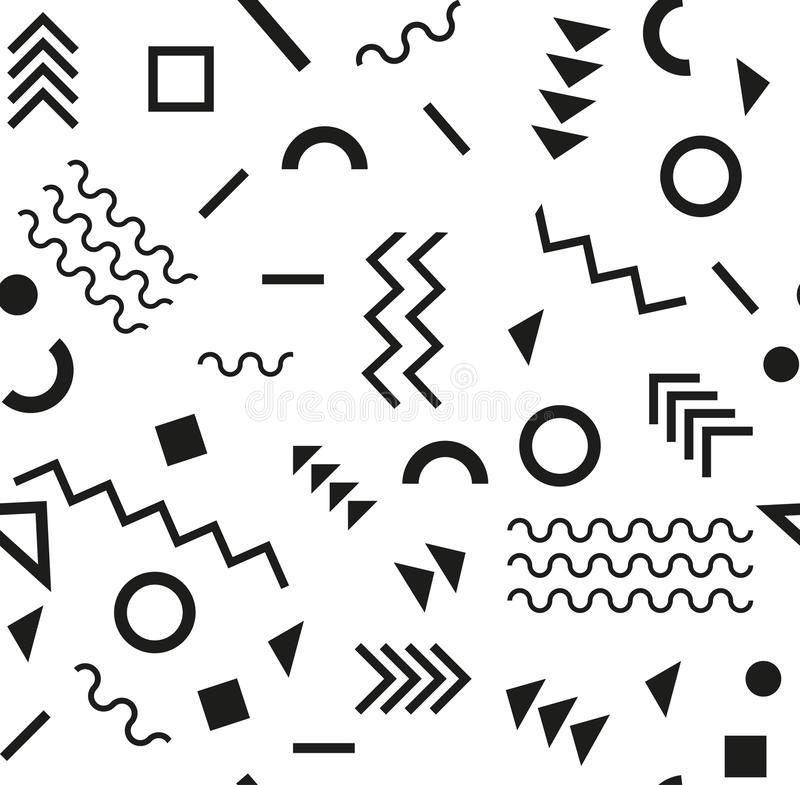 Стиль ретро моды 80s или 90s года сбора винограда Картина Мемфиса безшовная Ультрамодные геометрические элементы абстрактная конс иллюстрация вектора