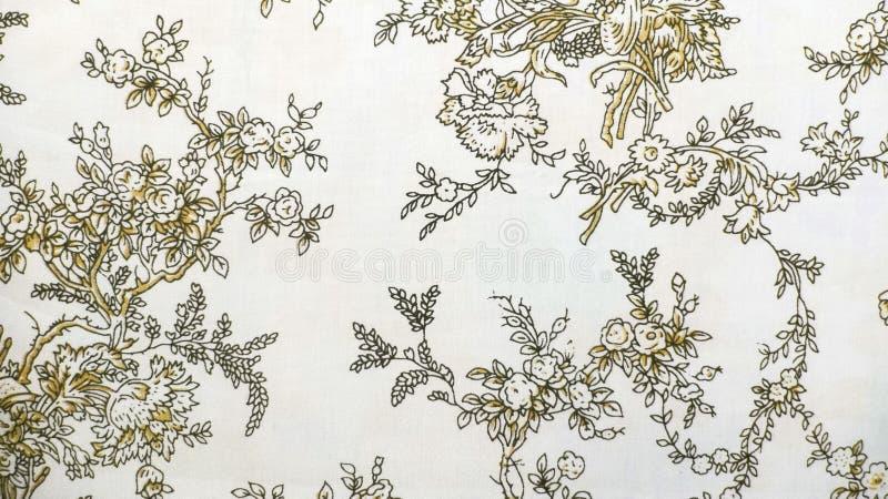 Стиль ретро предпосылки ткани Брайна картины шнурка флористической безшовной винтажный стоковая фотография rf