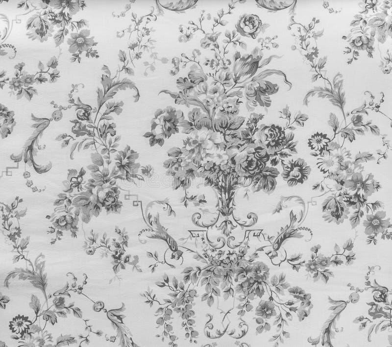 Стиль ретро предпосылки ткани картины шнурка флористической безшовной Monotone черно-белой винтажный стоковое фото rf