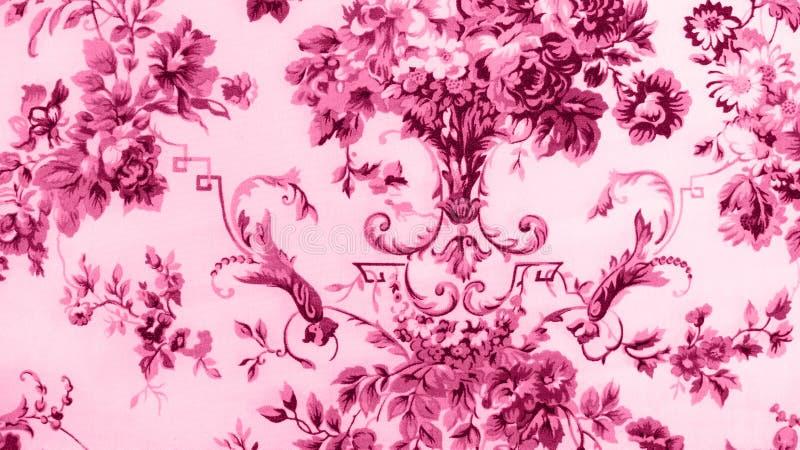 Стиль ретро предпосылки ткани пинка картины шнурка флористической безшовной винтажный стоковое изображение