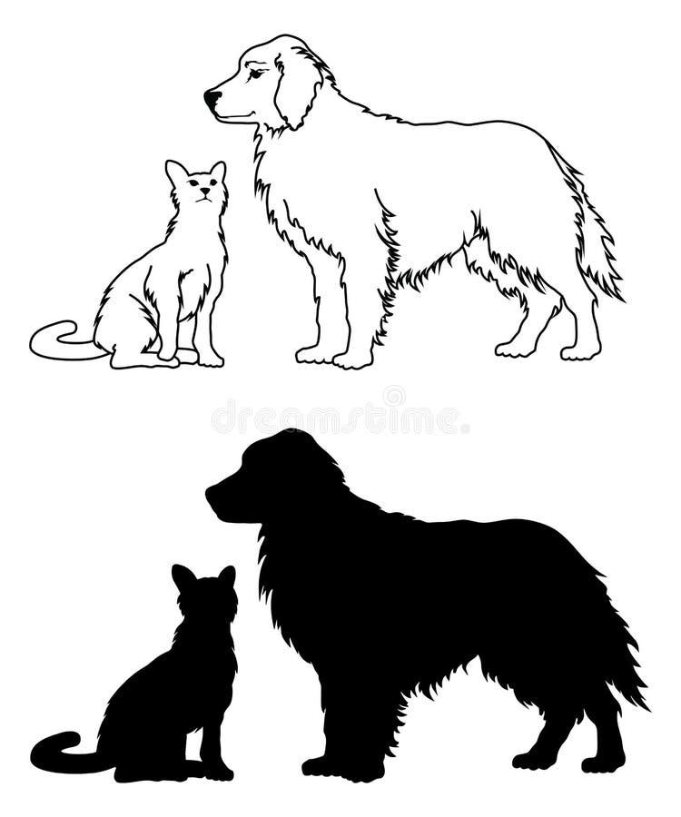 Стиль собаки и кошки графический иллюстрация штока