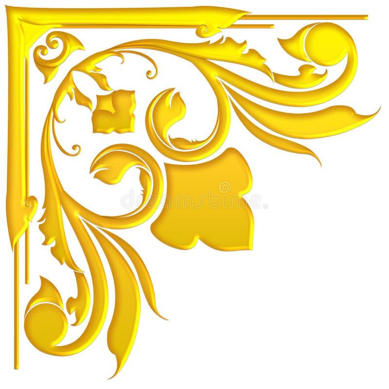 Стиль старого античного дизайна рамки золота традиционного тайский иллюстрация штока