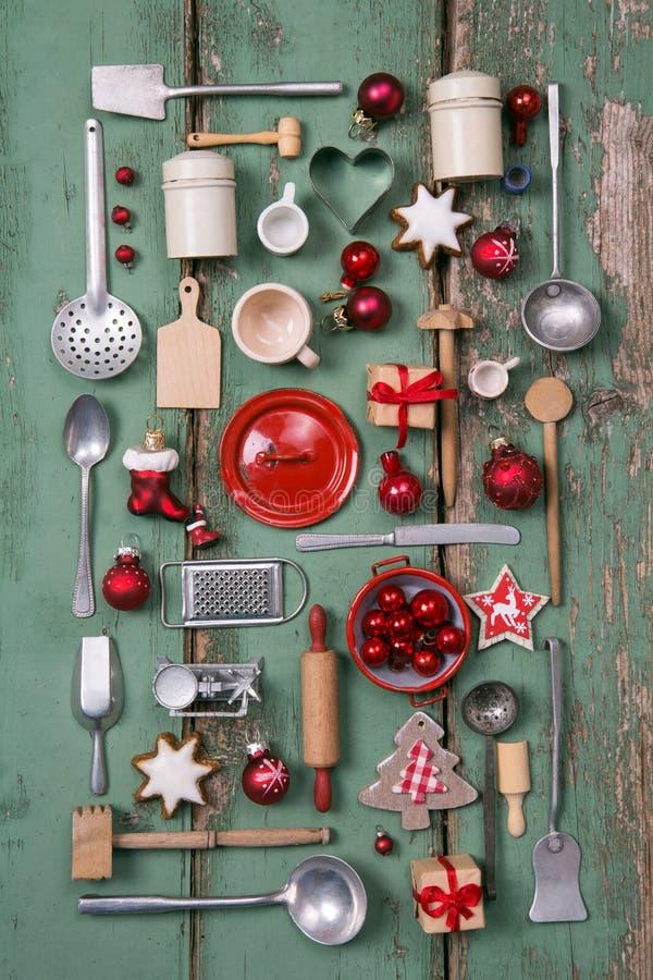 Стиль страны или деревянная винтажная предпосылка рождества для кухни стоковое фото rf