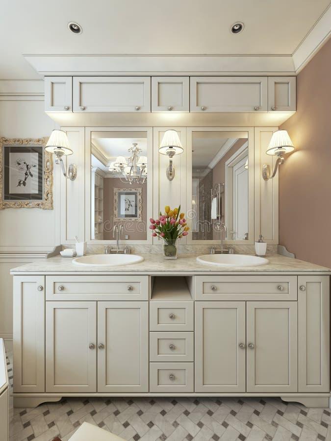 Стиль тщет ванной комнаты классический стоковые фотографии rf