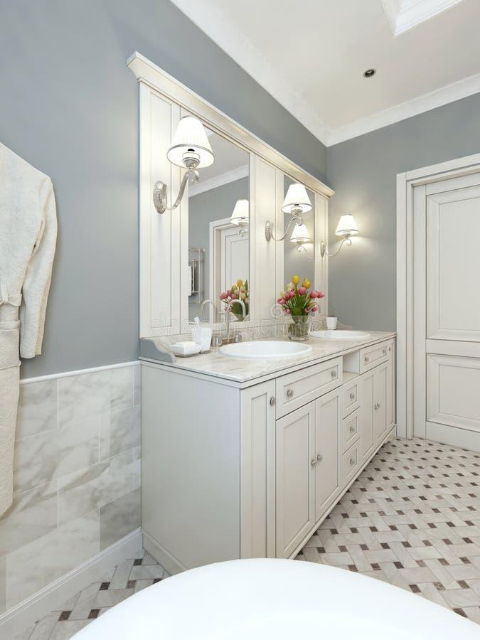 Стиль тщет ванной комнаты классический иллюстрация штока