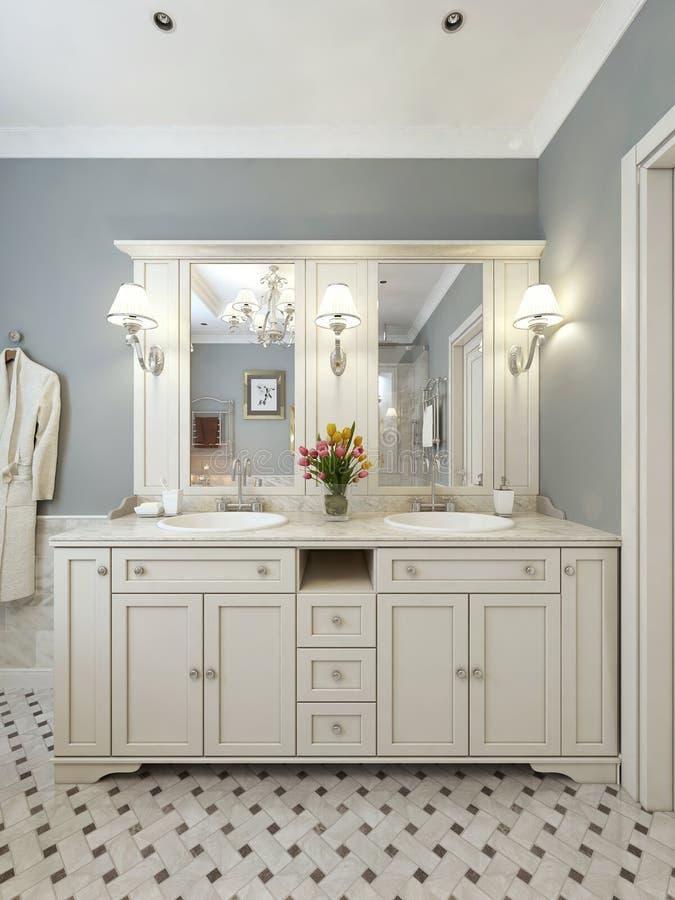 Стиль тщет ванной комнаты классический стоковые изображения rf