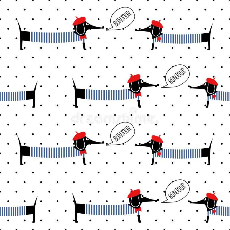 Стиль француза выслеживает говорить картину bonjour безшовную на предпосылке точек польки Иллюстрация вектора таксы милого шаржа  бесплатная иллюстрация