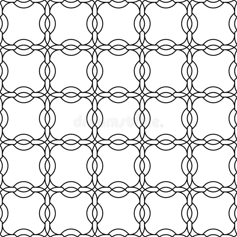 Стиль черно-белой геометрической безшовной картины китайский, abstra бесплатная иллюстрация