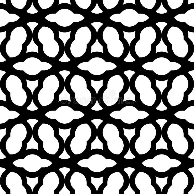 Стиль черно-белой геометрической безшовной картины китайский, abstra иллюстрация вектора