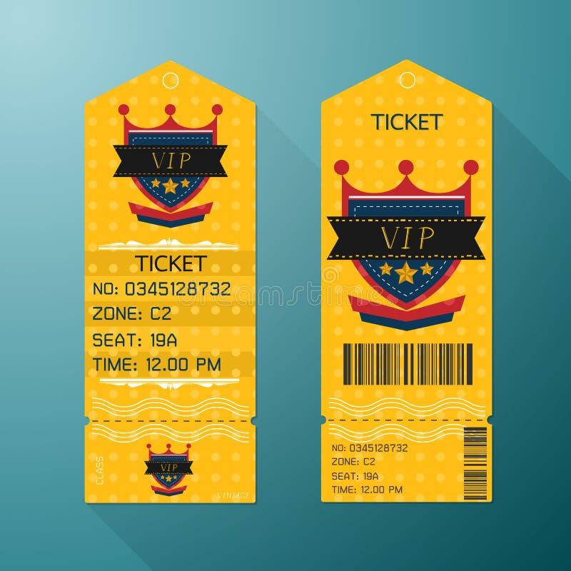 Стиль шаблона дизайна билета ретро Класс VIP золота бесплатная иллюстрация