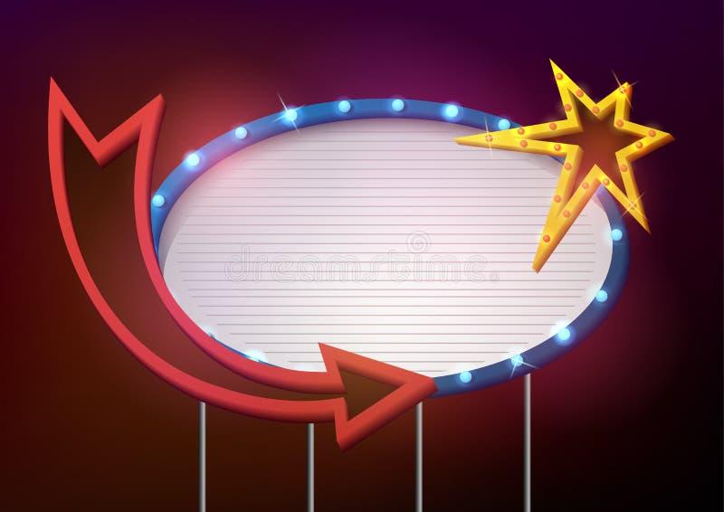 Стиль шильдика ретро с лампами Винтажное знамя с электрическими лампочками иллюстрация вектора