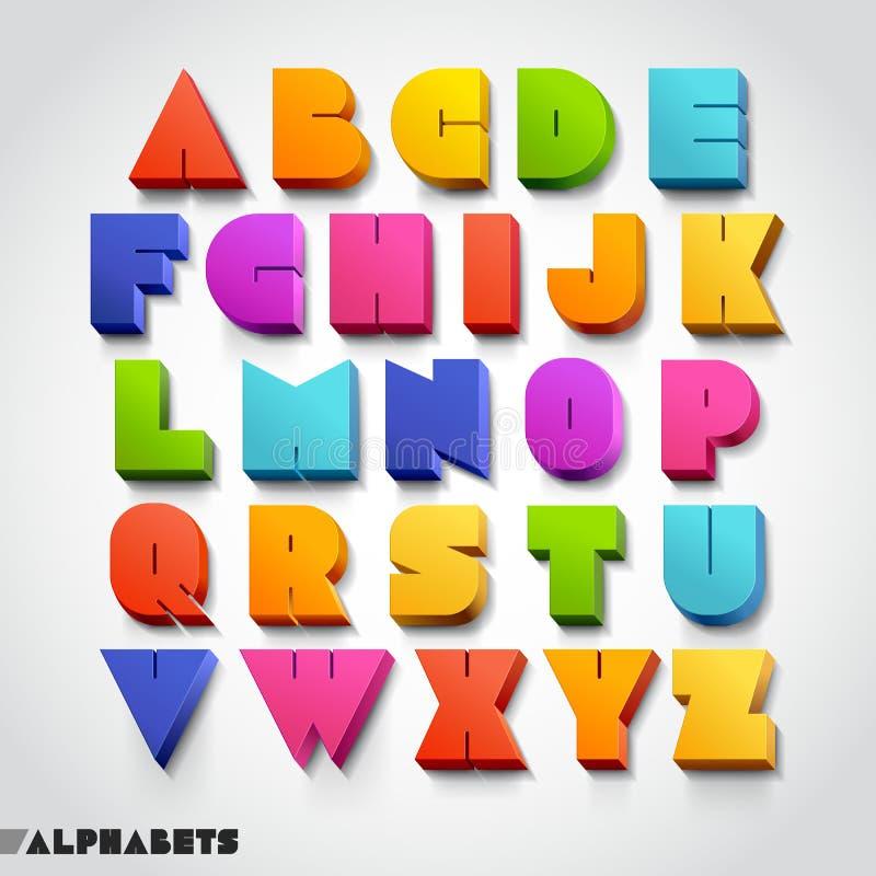 стиль шрифта алфавита 3D красочный. бесплатная иллюстрация