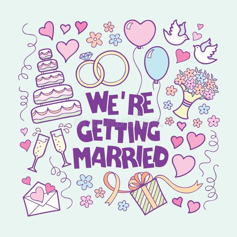 Стиль doodle карточки свадьбы вектора винтажной нарисованный рукой бесплатная иллюстрация