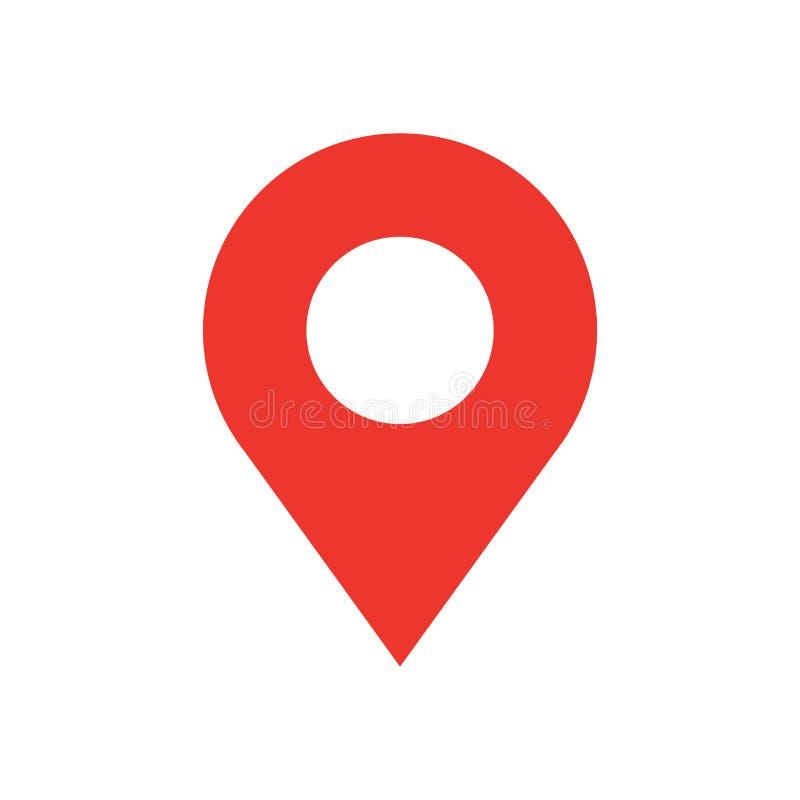 Стиля дизайна штыря карты значок плоского современный Символ вектора простого красного указателя минимальный Знак отметки иллюстрация вектора