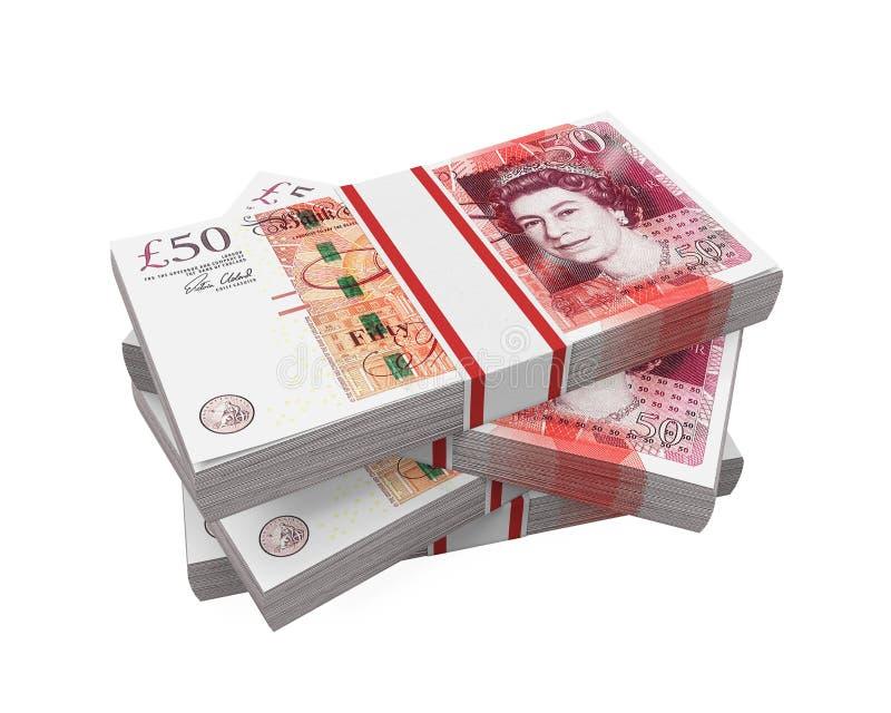 Стога банкнот 50 фунтов иллюстрация штока