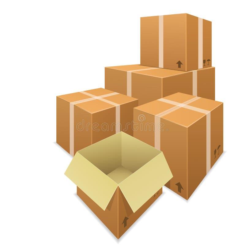 Стога вектора картонных коробок иллюстрация штока