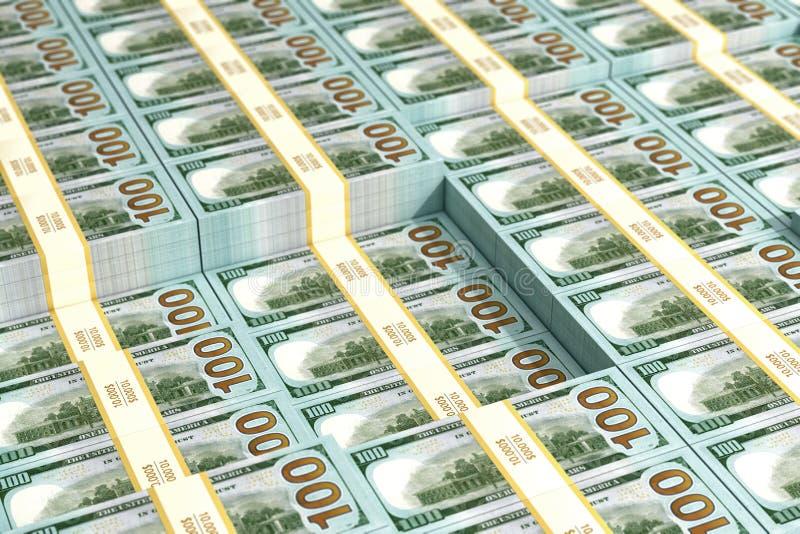 Стога 100 долларовых банкнот - предпосылки бесплатная иллюстрация