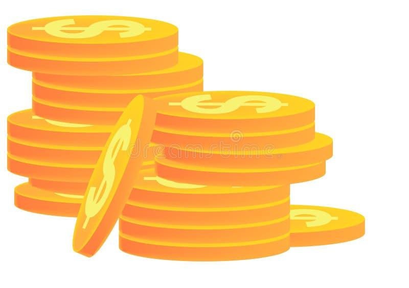стога золота монеток иллюстрация вектора