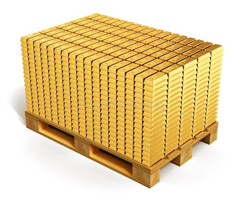 Стога золотых инготов на паллете доставки иллюстрация штока