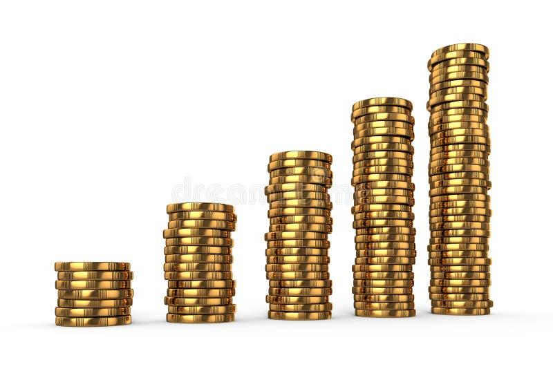 Стога золотых монеток иллюстрация штока