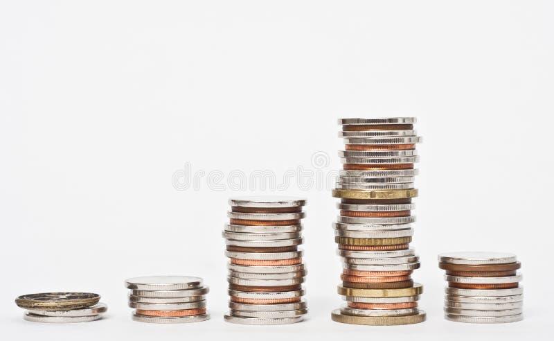 стога куч монеток стоковые изображения