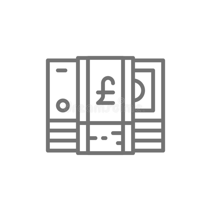Стог английского фунта, GBP, великобританской валюты, линии значка денег иллюстрация вектора