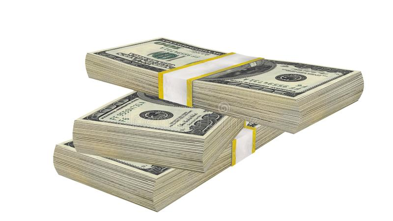 Стог 100 банкноты счета США долларов банкноты денег на белой предпосылке стоковые фотографии rf