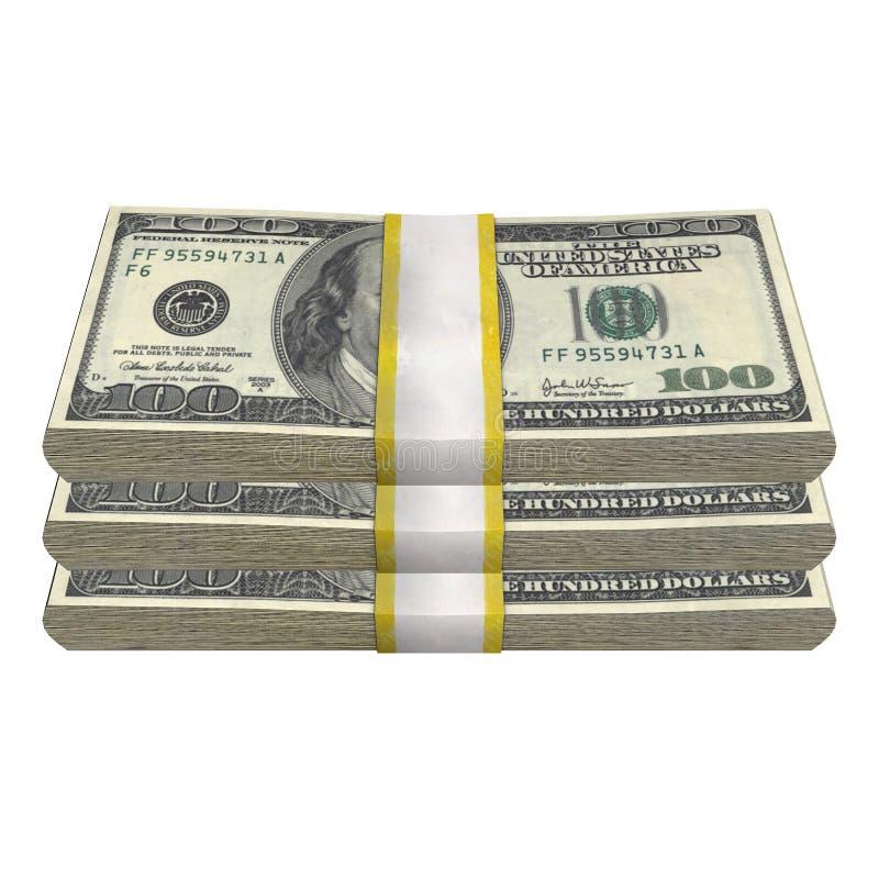Стог 100 банкноты счета США долларов банкноты денег на белой предпосылке бесплатная иллюстрация