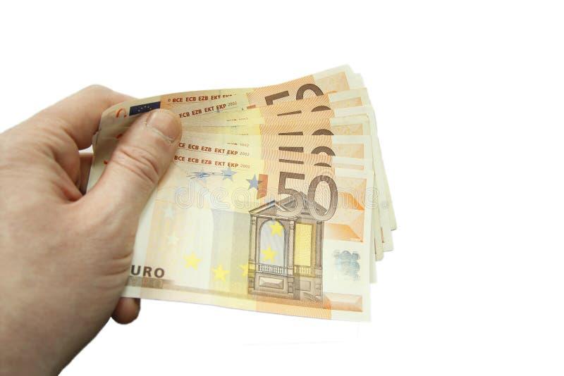 Стог 50 банкнот евро изолированных на белой предпосылке стоковые изображения rf