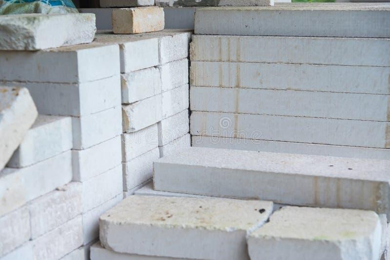 Стог белого блока легкого бетона стоковое фото rf