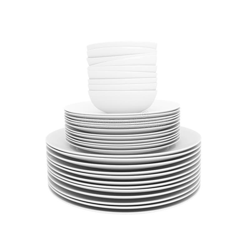 Стог белых блюд и шаров супа изолированных на белизне стоковая фотография