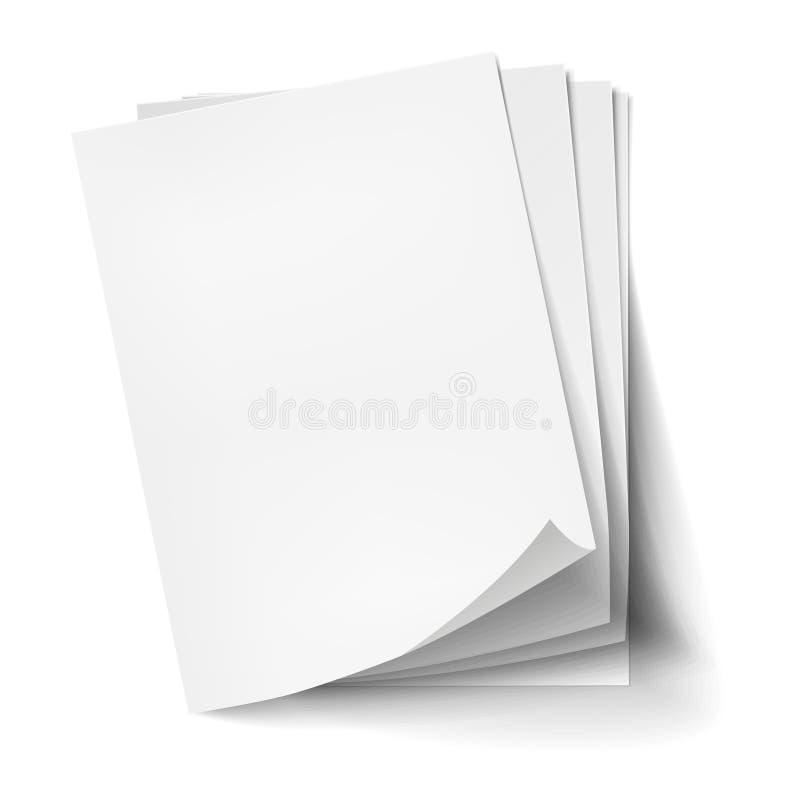 Стог вектора 4 пустых белых листов Реалистическая пустая бумага иллюстрация штока