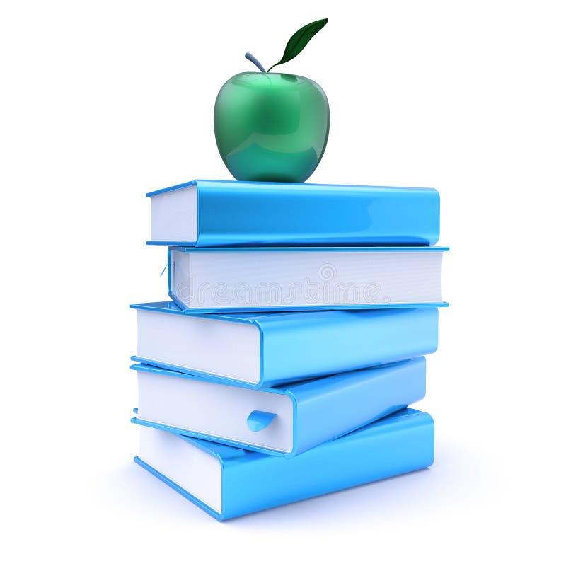 Стог 5 голубых книг и зеленое яблоко над им иллюстрация штока