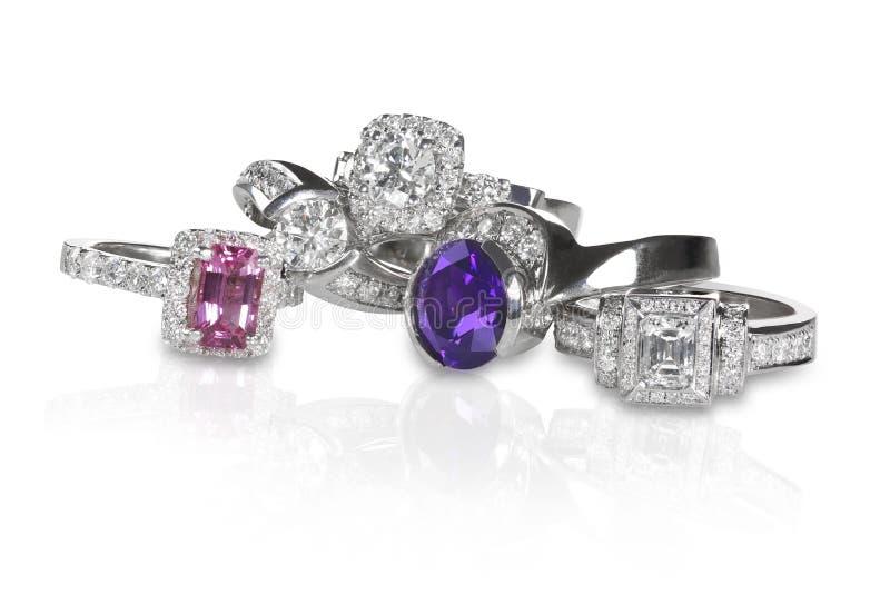 Стог группы колец engagment свадьбы диаманта стоковые фото