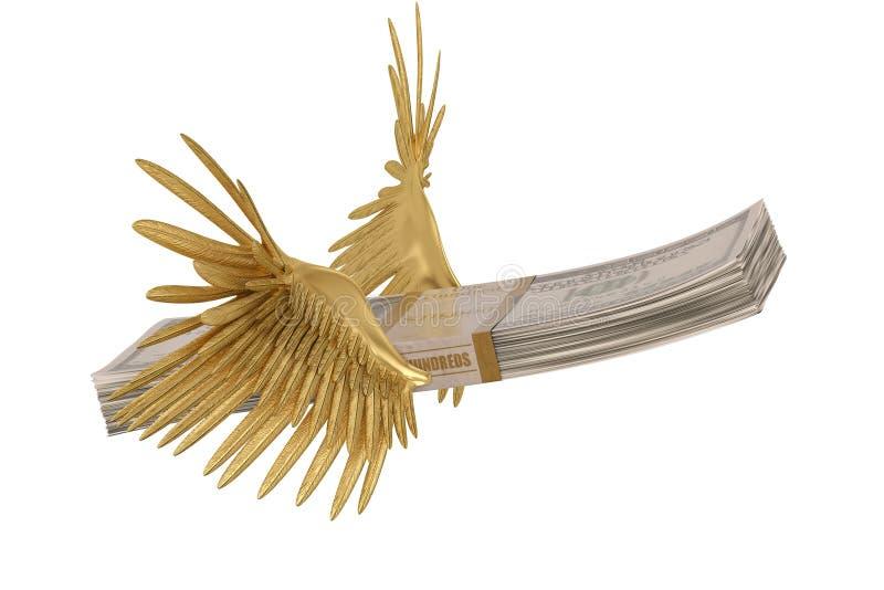 Стог долларов при крыла золота изолированные на белой предпосылке иллюстрация вектора