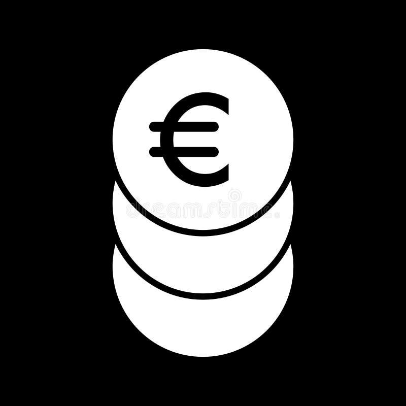 Стог евро чеканит значок вектора Черно-белая иллюстрация наличных денег Твердый линейный значок денег иллюстрация штока