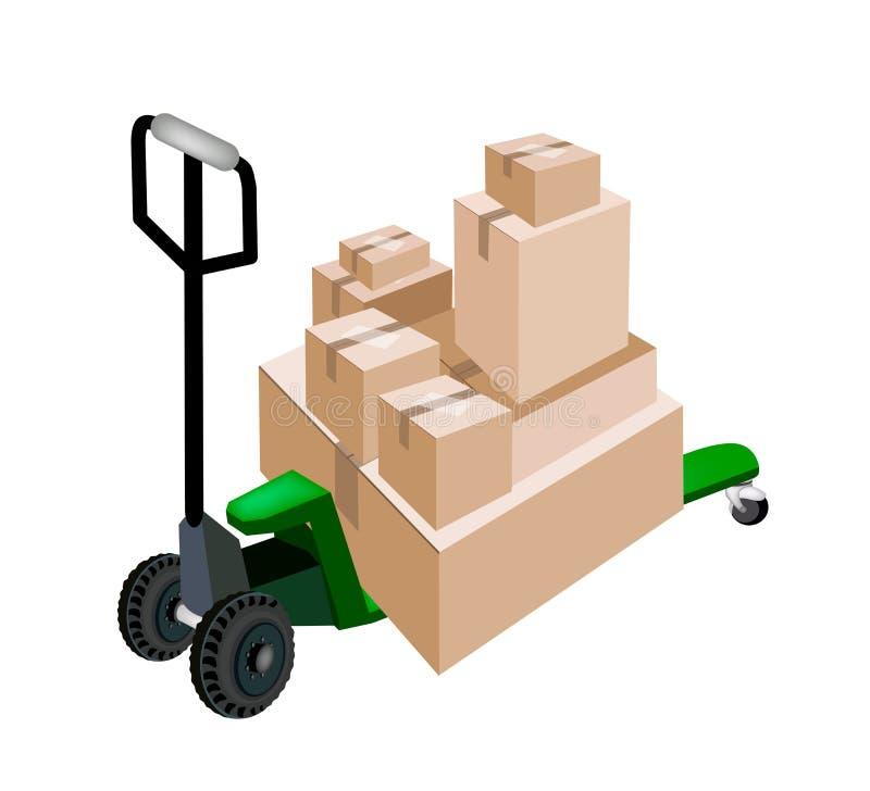Стог загрузки тележки паллета коробок доставки бесплатная иллюстрация