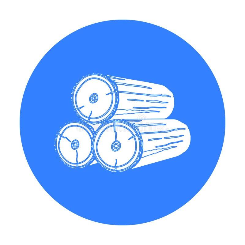Стог значка журналов в черном стиле изолированного на белой предпосылке Иллюстрация вектора запаса символа лесопилки и тимберса иллюстрация штока