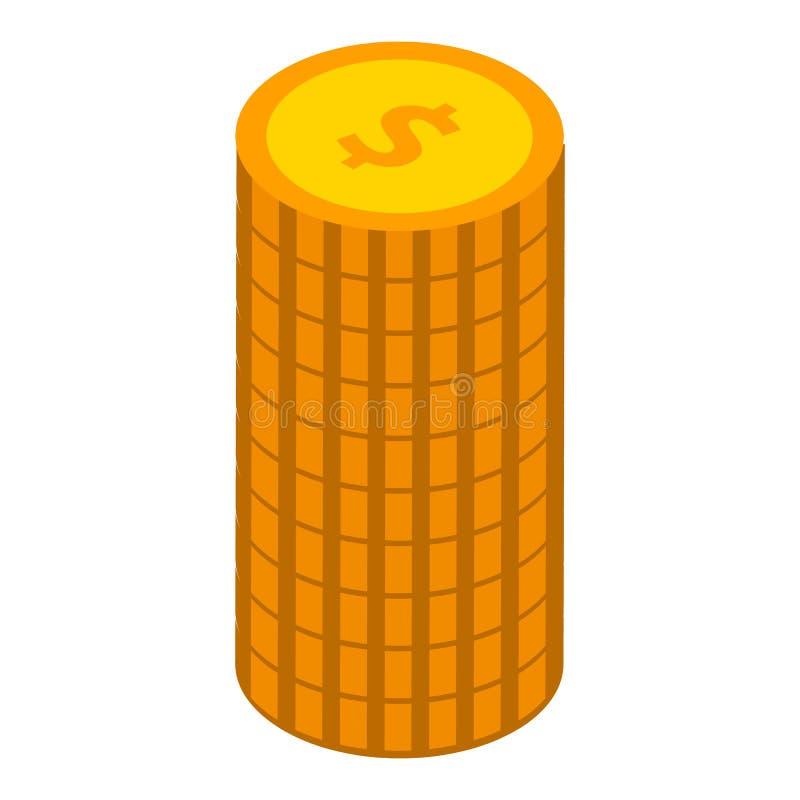 Стог значка монеток, равновеликого стиля иллюстрация вектора