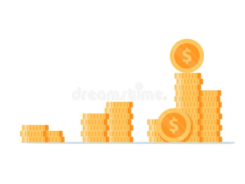 Стог золотой монетки любит диаграмма дохода тенденции стиля шаржа графический дизайн логотипа плоской современный простой изолиро иллюстрация вектора