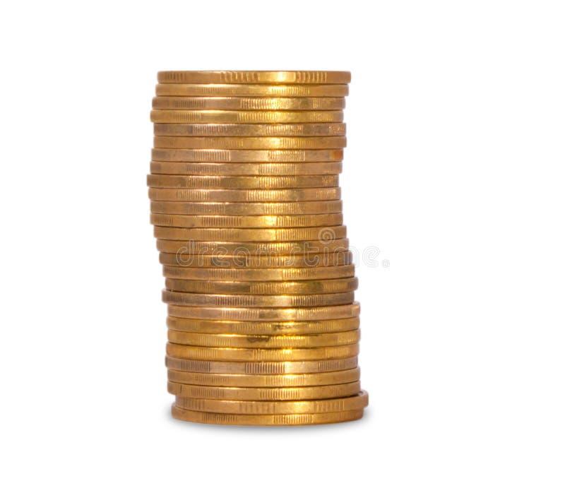 Стог золотых украинских монеток стоковое изображение rf
