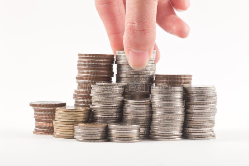 стог изолята монетки стоковое изображение rf