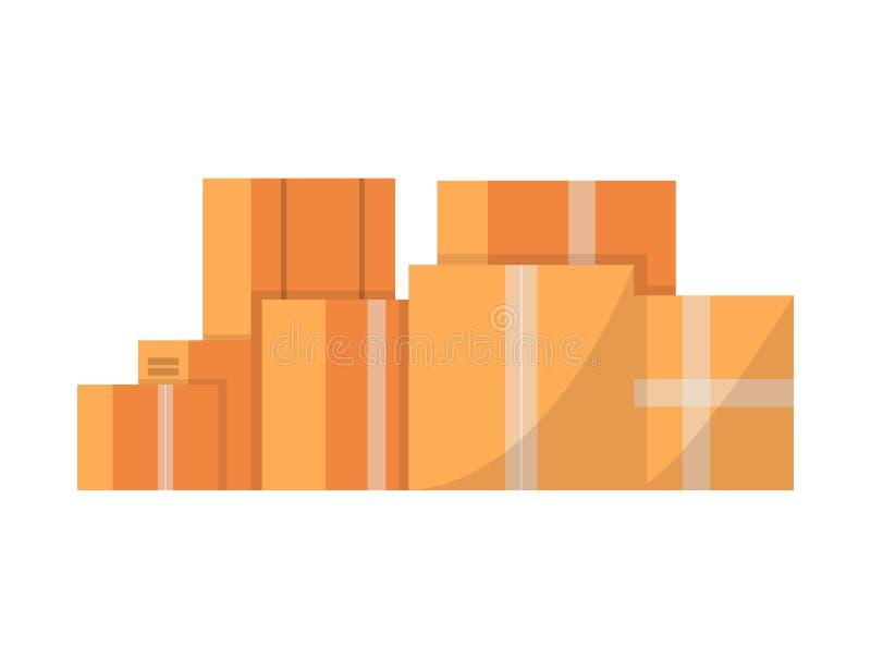 Стог картонных коробок изолировал значок иллюстрация вектора