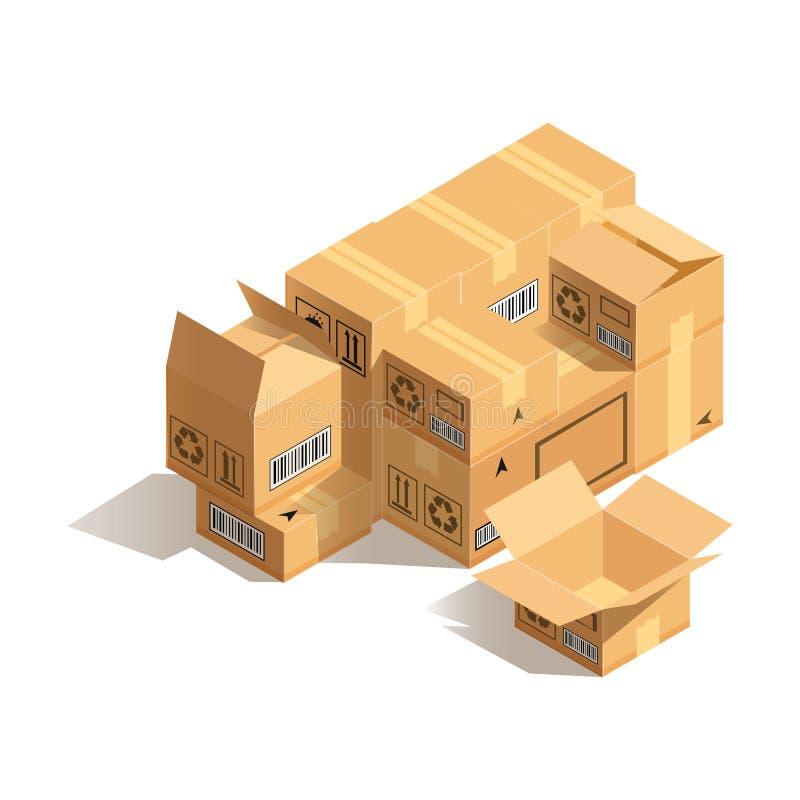 Стог картонных коробок изолированных на белой предпосылке Концепция пакуя товаров иллюстрация вектора