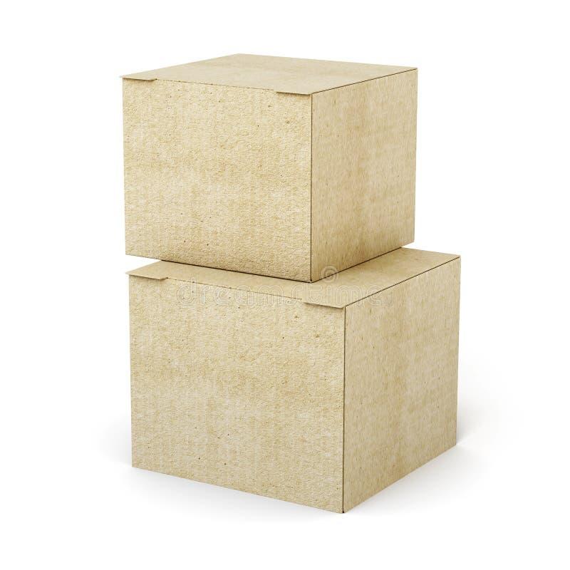 Стог картонных коробок на белой предпосылке 3d представляют иллюстрация вектора