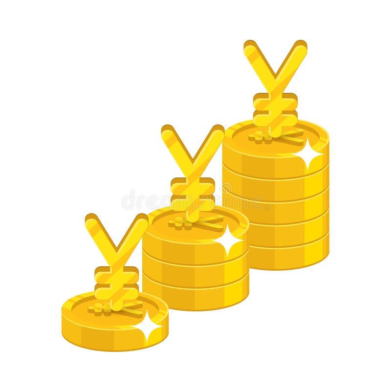 Стог китайских юаней или японских иен растущий иллюстрация штока